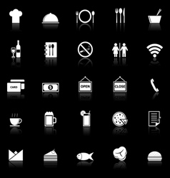 Restaurant icons with reflect on black background vector