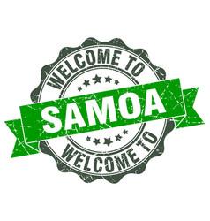 samoa round ribbon seal vector image