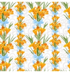 Seamless backround from spring yellow crocuses vector image
