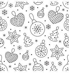 seamless pattern with black snowflakes and toy vector image