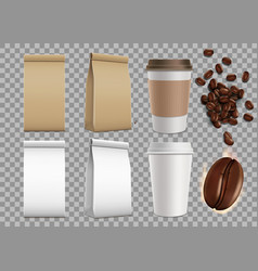 Set blank package with coffee beans and mugs vector