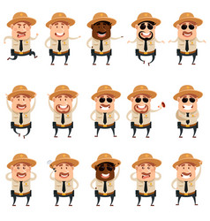 set flat police men icons vector image