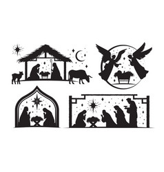 set four silhouetted nativity scenes for vector image