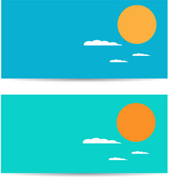 Set of banners with sun and clouds vector