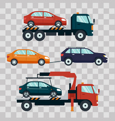 set of cars evacuating broken or damaged auto on vector image