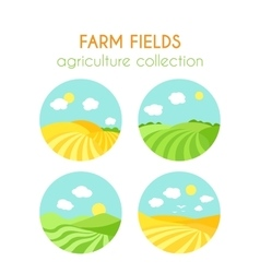 Set of farm fields landscapes Round badges with vector image