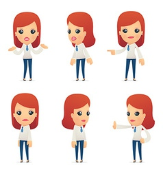 Set of reception character in different poses vector