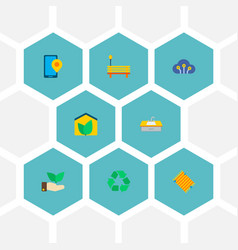 Set of smart city icons flat style symbols with vector
