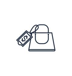 shopping bag money line image vector image