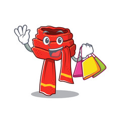 Shopping scarf mascot isolated in cartoon vector