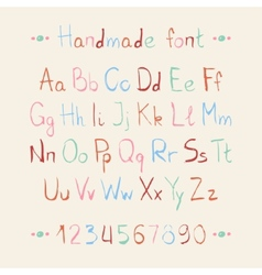 Simple colorful hand drawn font Complete abc vector image vector image
