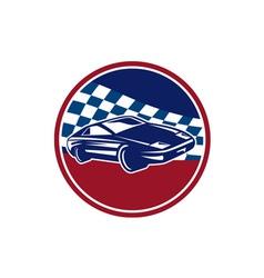 Sports car racing chequered flag circle retro vector