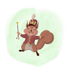 squirrel and its crown cute cartoon vector image