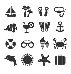 Summer vacation sea beach relax icons vector