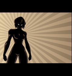 Superheroine battle mode ray light silhouette vector