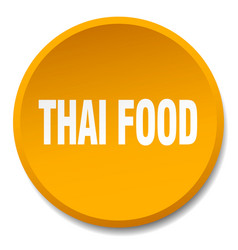 Thai food orange round flat isolated push button vector