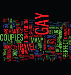 The perfect gay honeymoon text background word vector