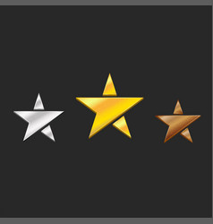 three metal stars medals gold silver bronze vector image