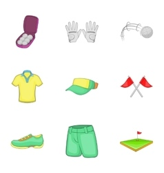 Training golf icons set cartoon style vector