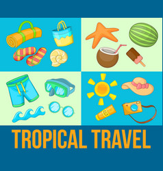 tropical travel concept banner set cartoon style vector image