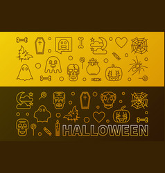 two halloween horizontal colorful outline vector image