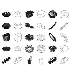 types of bread blackoutline icons in set vector image