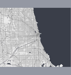 Urban city map chicago poster grayscale street vector