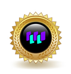 Waltonchain cryptocurrency coin gold badge vector
