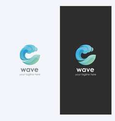 Water wave logo design template vector