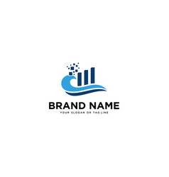 Waves logo design and growth chart vector