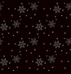 White snowflakes seamless pattern on black vector
