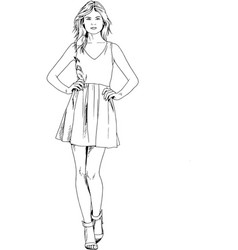 young slim girl drawn in ink hand vector image