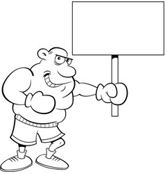 black and white of a boxer holding a vector image