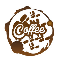 coffee beans badge sticker vector image vector image
