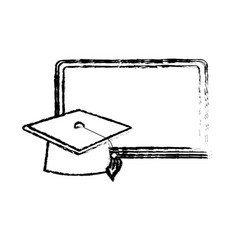 figure blackboard object with cap graduation vector image vector image