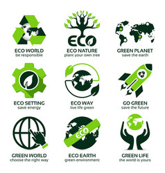 Flat icon set for green eco planet vector