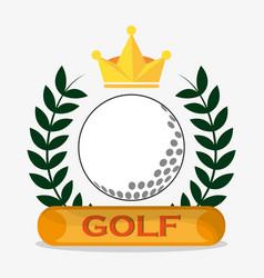 golf ball crown label emblem vector image vector image