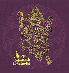 hindu god ganesha hand drawn vector image