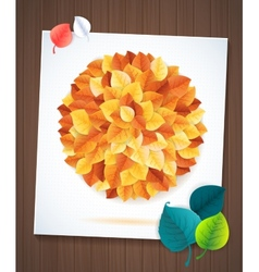 leaves card concept on wood background vector image