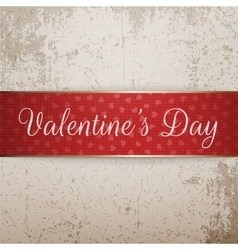 Red and golden bright valentines day ribbon vector