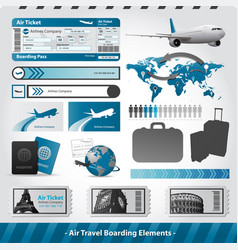 Air travel design elements flight boarding vector