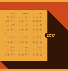 calendar 2017 for a year vintage style vector image vector image