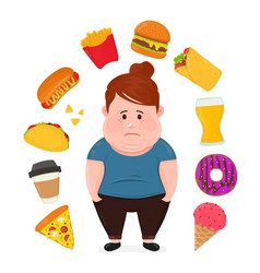 fat sad young woman surrounded vector image