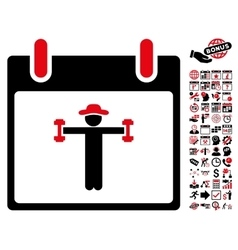 Fitness Calendar Day Flat Icon With Bonus vector image
