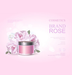 pink beauty cosmetic product poster rose cream vector image