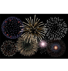 Realistic fireworks background vector image vector image