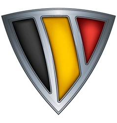 steel shield with flag belgium vector image vector image