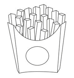 black and white french fries chips fast food icon vector image