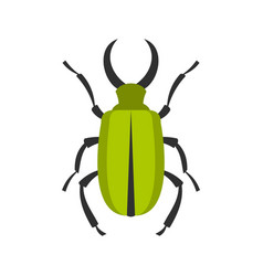 green bug icon flat style vector image