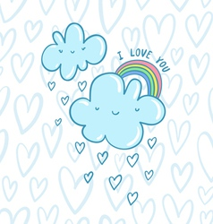 I love you blue valentine clouds vector image